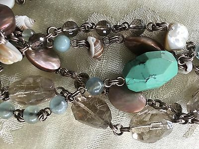 Stephen Dweck Long Jeweled Necklace Sterling Silver Large Clasp