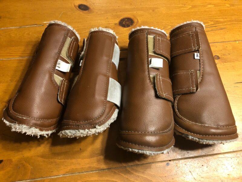 Set of 4 Horse Dressage Sport Boots, Size 2 Small & 2 Medium, Brown