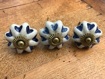 3 vintage - blue and white ceramic type draw knobs