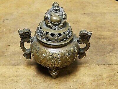 Tibet Buddhism red Bronze Eight Auspicious Dragon Beast Incense Burner Censer