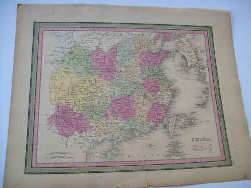 Antique 1854 MITCHELL MAP CHINA # 70  Authentic Plate Print hand tinted
