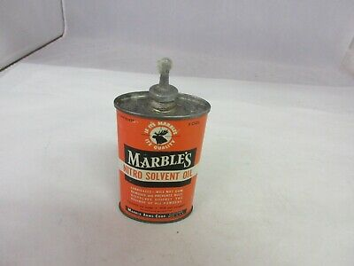 VINTAGE ADVERTISING MARBLE'S OIL TIN CAN OILER TIN EMPTY AUTOMOBILIA 707-F