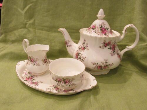 Royal Albert English Bone China Lavender Rose Teapot Creamer Sugar & Tray MINT