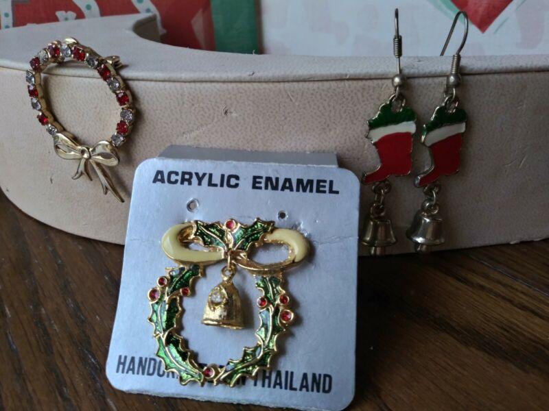Lot Of (3) Christmas Costume Jewelry