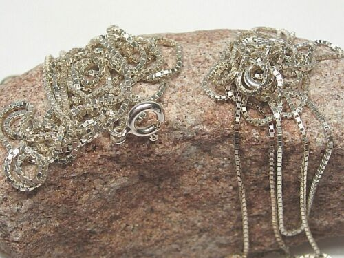 """2 Sterling Silver (.925) Box Chain Necklaces. Both 30"""" & 1mm. 6.9g.  #6"""