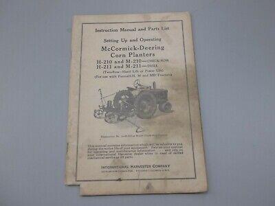 Ih Mccormick-deering H-210 H-211 Corn Planters For Farmall H M Md Operate Manual