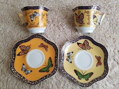 2 Classic Butterfly Coffee Tea Espresso Cup and Saucer Gold Plated