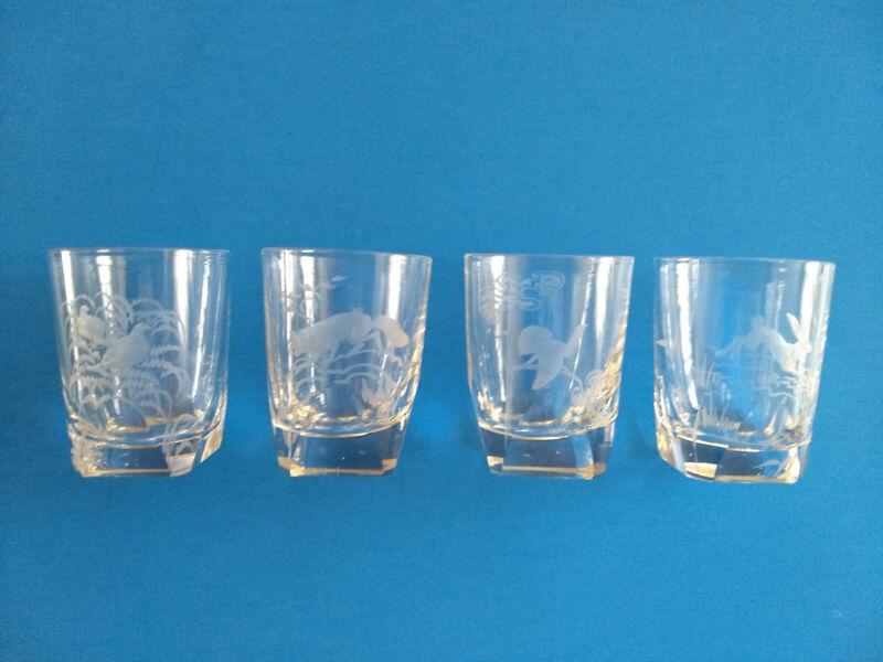 "4 RARE Antique KOSTA signed ""Kjellander"" HUNTING THEME etched crystal glasses"