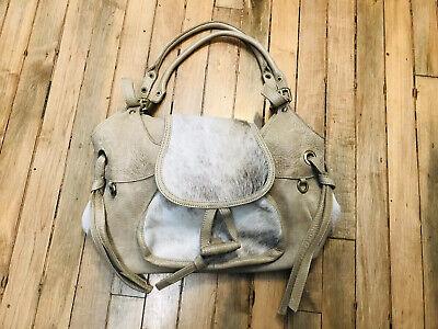 Innue distressed leather real fur adjustable  handles tan shoulder bag NWOT