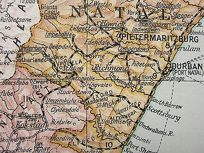 1919 LARGE MAP ~ UNION OF SOUTH AFRICA CAPE OF GOOD HOPE NATAL ORANGE FREE STATE