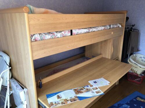 Lits superposés avec 2 matelas, bureau et 3eme lit tiroir