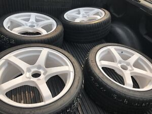 """18"""" Enkei White rims and tires just refinished with new rubber"""