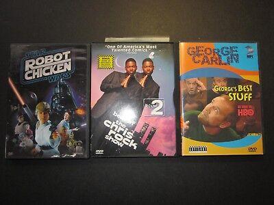 3 comedy DVDs,Chris Rock show Vol 2, George Carlin's best stuff, Robot (Best Sketch Comedy Shows)