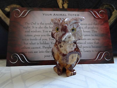*OWL* Carved Stone Figurine Totem Wiccan Pagan Familiar Metaphysical