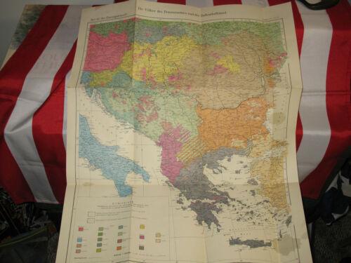 WWII German Map 1940 Greece Austria Italy Balkans