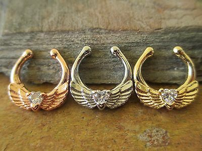 Rose Gold Angel Wings Heart Gem Non-Piercing Septum Clip-On Fake Faux Nose Ring ()