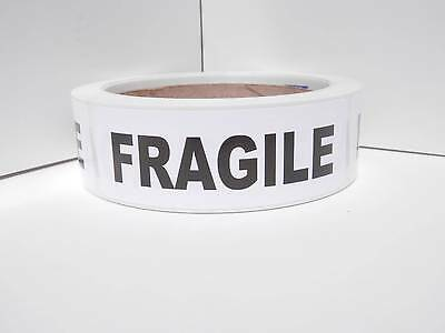 Fragile 1.125x3.5 Rect Warning Stickers Labels White Semi Gloss Bkg 250rl