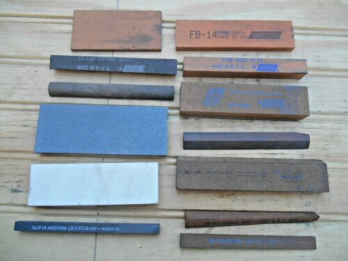 MACHINISTS SHARPENING STONES , NOTON ,  OTHERS , LOT OF 13