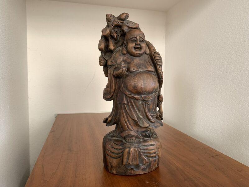 Chinese Japanese Laughing Buddha Sculpture Vintage Wood Carving Bronze Ming Era