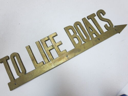 """Authentic vintage antique brass metal Penco """" To Life Boats"""" original sign old"""