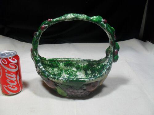 Green and White Embossed Ceramic Fruit Basket