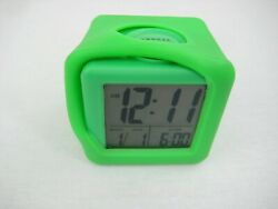 Equity Soft Cube LCD Travel Alarm Clock w/ Silicone Rubber Case Neon Green