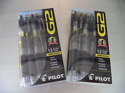 24 Pilot G2 Black X Fine 05 Rollerball Pens Free Shipping Fresh 2 X12 Pk 31130
