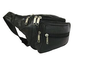 LARGE LEATHER BUM BAG WITH 7 POCKET SECURITY SAFE TRAVEL MONEY WAIST BELT WALLET
