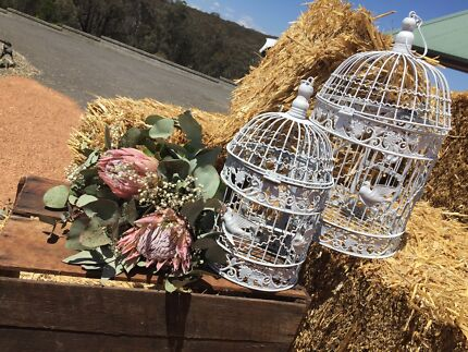 Vintage Rustic Bird Cages / Wishing Well - White
