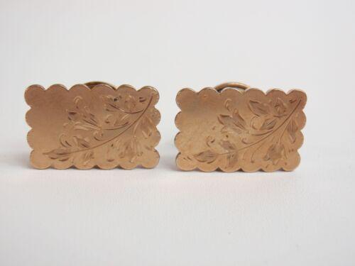 Antique Cufflinks Gold Scalloped Edge Rectangles Chased Engraving Bridge Backs