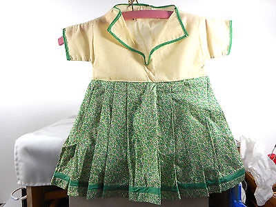 VINTAGE MUSLIN AND GREEN FLORAL FABRIC CLOTHES PIN BAG - CHILD'S DRESS