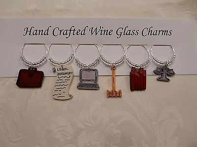 """""""LAWYER""""  SET OF 6  HAND CRAFTED Wine glass drink marker Charms"""