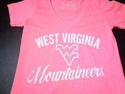 Ncaa West Virginia Mountaineers V Neck  Shirt Top Womens Small Pink N0