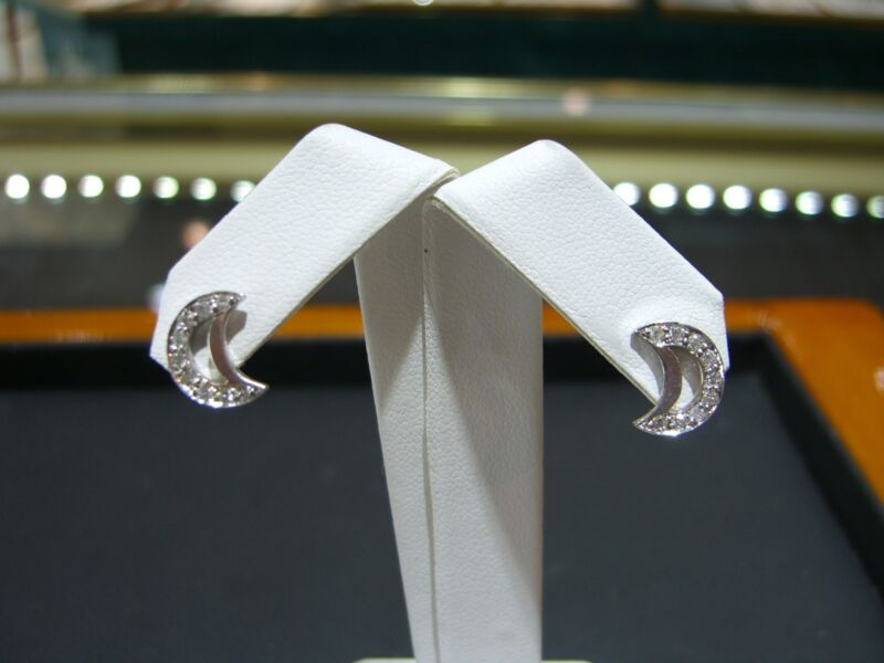 Fine Diamond Half Moon Stud Earrings 0.20 Carat 14 Karat White Gold New!!