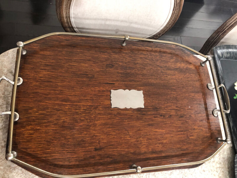 ENGLISH OAK Wood SERVING TRAY WITH SILVER GALLERY-ORNATE Antique 1900's