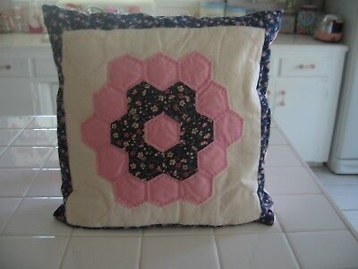 Beautiful Hand made Quilted Flower Patchwork Decorator Throw - Beautiful Handmade Designer Pillows