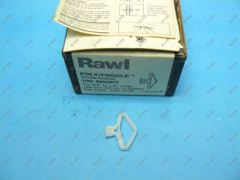 """Rawl Powers 2303 Plastic Poly-Toggle Screw Anchor Short 3/8"""" Wall Qty 100"""