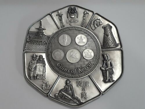 NEW, Coins of Korea, Collectible Pewter Plate, w/ stand & Wall Hook, NEW!