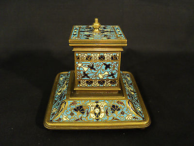 FABULOUS 19th C. ANTIQUE FRENCH CHAMPLEVE & BRONZE INKWELL / INK STAND