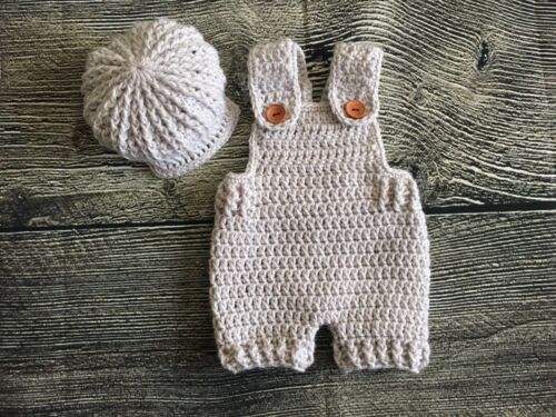 newborn baby boy crochet overa... Image 1