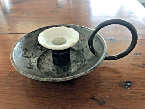 Antique Tin Candle Holder with Porcelain / Ironstone Lip