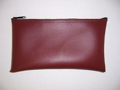 1 Brand New Burgundy / Maroon Vinyl Bank Deposit Money Bag Tool Organizer