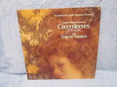 - VAUGHAN WILLIAMS FANTASIA ON GREENSLEEVES VINYL LP; ANGEL S 36799; BOULT; ELGAR