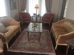 Two love seat and two accent chairs for sale.