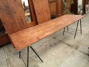 C43054 Rustic Timber 2.4m Trestle Dining Table CAFE 2 AVAIL Unley Unley Area Preview