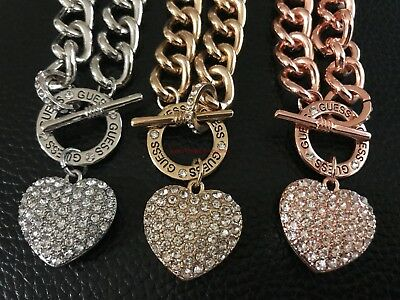Valentine's Day GIFT IDEA Guess Rhinestone Heart Pendant Chain Necklace NWT](Necklace Ideas)