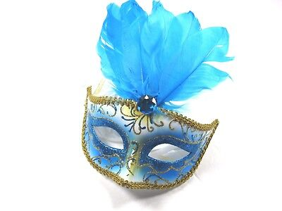 ICING Womens Halloween Mardi Gras Feather Blue Masquerade Mask One Size New ()