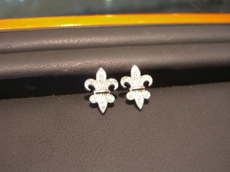 Fine Diamond Fleur De Lis Earrings 0.35 Carat Diamonds 14 Karat White Gold New!!