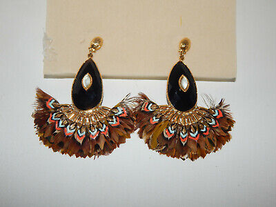 GAS BIJOUX EARRINGS BEAD FEATHERS MOONSTONE 14K PLATED SPECTACULAR NEW $328