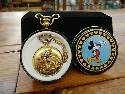 Rare Vintage VERICHRON Disney Gold tone Mickey Mouse Railroad Pocket Watch